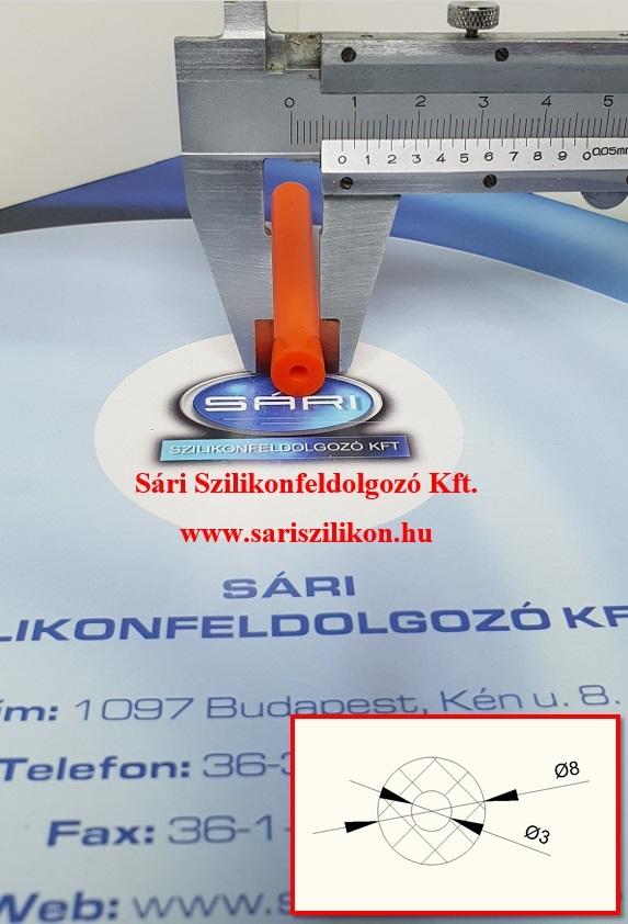 Ø3xØ8 mm-es szilikon vákuum cső narancssárga színben